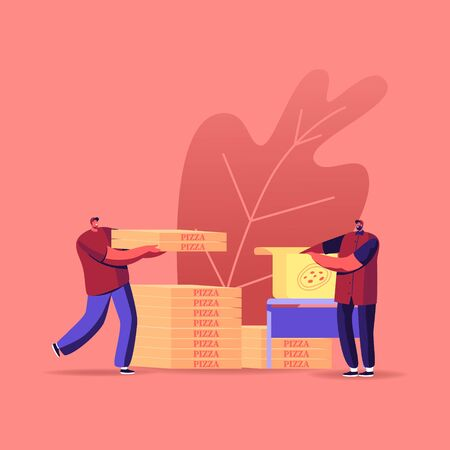 Workers Packing and Delivering Pizza Boxes to Customers. Food Delivery, Distribution Cafe and Restaurant Shipping Service. Male Characters in Uniform with Packages. Cartoon People Vector Illustration