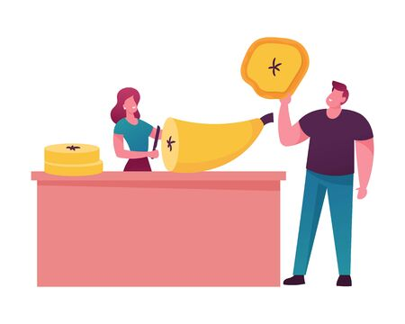 Male and Female Characters Cooking and Eating Fruit Chips. Tiny Woman Cutting Huge Banana, Man Holding Slice Isolated on White Background. Healthy Vegetarian Food. Cartoon People Vector Illustration