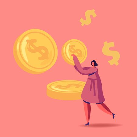 Successful Business Woman Carry Huge Gold Coin, Character with Money Cash. Rich Businesswoman Make Saving