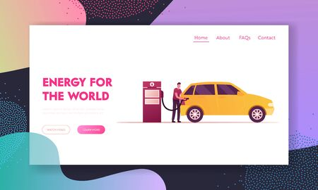 Transport Gasoline Drivers Service Landing Page Template. Gas Station Worker Character Pouring Fuel in Car. Petroleum Station Employee or Auto Owner Refueling Automobile. Cartoon Vector Illustration