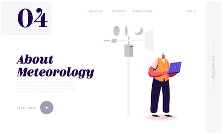 Meteorology Science, Modern Technologies for Weather Forecast Landing Page Template. Male Character Hold Laptop