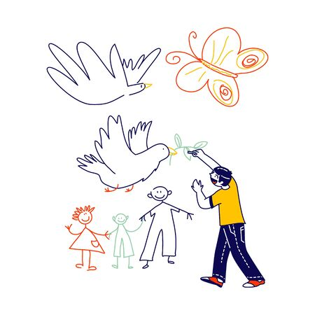 Little Boy Drawing Doves with Branch and Happy Family. Child Character Painting on White Wall, International Kids Day