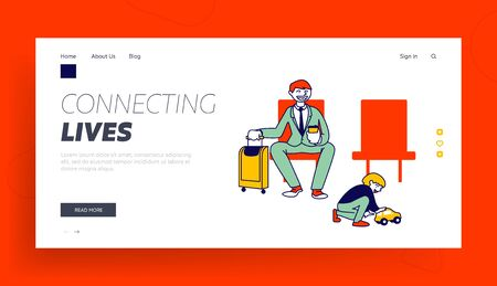 Family Airplane Trip Landing Page Template. Father Character Traveling with Son. Young Business Man and Little Boy 向量圖像