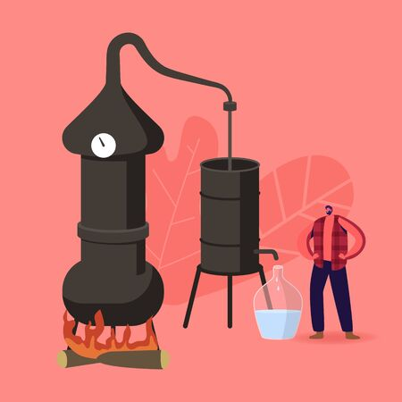 Tiny Male Character Cooking Homemade Moonshine in Special Retro Hooch Tower Working on Fire Ilustrace