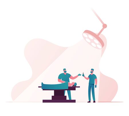 Surgeon Characters Holding Scalpel Prepare to Make Operation to Patient Lying on Bed at Surgery Room in Clinic. Rhinoplasty, Emergency Medical Treatment Health Care. Cartoon People Vector Illustration