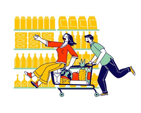 Happy Couple Characters Fool in Supermarket Riding Trolley. Happy Man Pushing Shopping Cart with his Girlfriend
