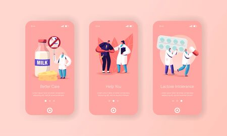 Lactose Intolerance Mobile App Page Onboard Screen Template. Character and Doctors. Man Feel Bad in Stomach Vector Illustratie