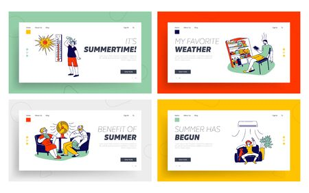 Characters in Summer Time Hot Period Landing Page Template set. Young and Aged People Sitting on Sofa Use Fans