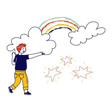 Happy Boy Drawing Stars, Rainbow and Clouds. Child Character Painting on Wall. International Kids Day or Peace Day Concept. Little Artist Activity, Childhood, Happiness. Linear Vector Illustration