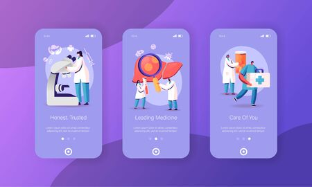 Hepatitis, Cirrhosis Mobile App Page Onboard Screen Template. Tiny Doctors Characters Care of Patient Diseased Liver