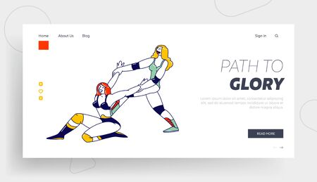 Female Characters Wrestling Show Performance, Combat on Professional Arena, Sport Fight Landing Page Template Vektorové ilustrace
