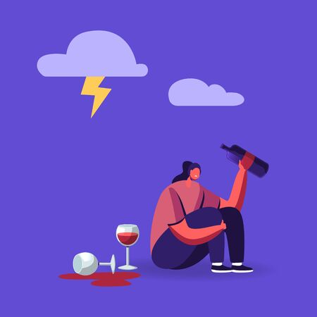 Drunk Woman Bipolar Disorder, Alcohol Addiction. Female Character Sitting on Floor in Depressed Mood with Wine Bottle in Hand Suffering, Crying Feel Lonely, Alcoholism. Cartoon Vector Illustration Vector Illustration