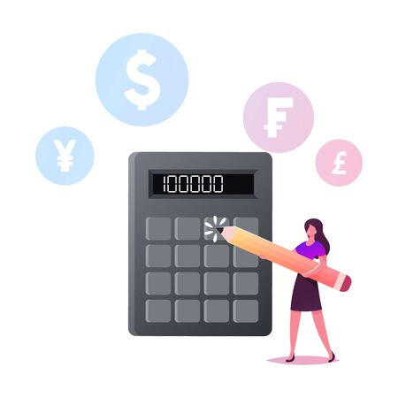 Female Character with Pencil Stand at Huge Calculator Counting Income, Profit or Loan. Financial Problems, Budget Crisis, Money Bank Finance Credit or Macroeconomics. Cartoon Vector Illustration