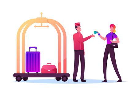 Tourist Female Character Giving Tips to Doorman in Uniform Deliver her Luggage in Room. Hospitality Service, Hostess. Woman Gratitude Hotel Staff for Good Work. Cartoon People Vector Illustration