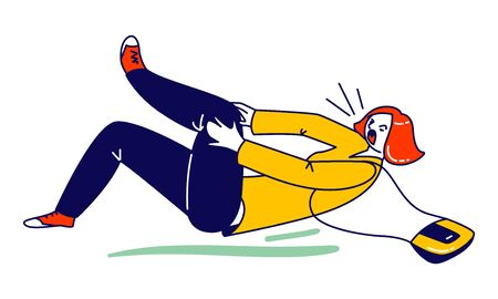 Danger Accident, Slip and Stumble. Female Character Slipping and Falling on Wet Floor Puddle. Woman Lying on Floor Crying of Pain in Leg. Person Safety, Dangerous Trauma. Linear Vector Illustration