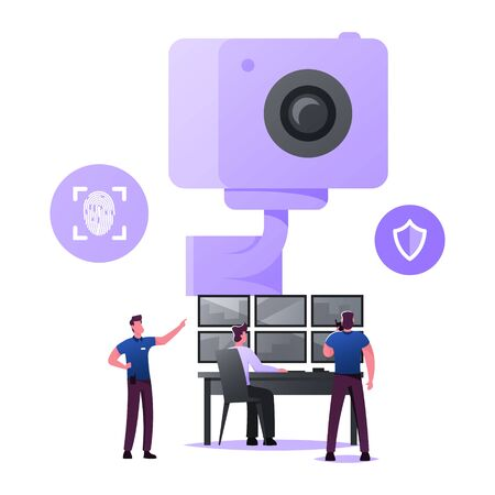 Security Characters Monitoring Surveillance System, Technology for Protection Property. Men at Huge Video Camera Looking at Multiple Monitors Control Environment. Cartoon People Vector Illustration