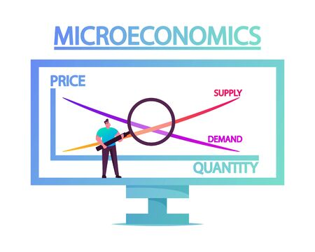Tiny Male Character Stand with Magnifying Glass at Huge Computer Screen with Microeconomics Graph Contain Price, Quantity, Supply and Demand Scales. Economy Studying. Cartoon Vector Illustration
