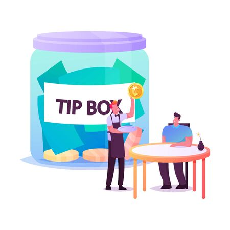 Visitor in Cafe Give Tips to Waiter, Male Character Sitting at Table in Restaurant, Staff in Uniform Holding Gold Coin. Tiny People at Huge Tip Box. Hospitality Service. Cartoon Vector Illustration