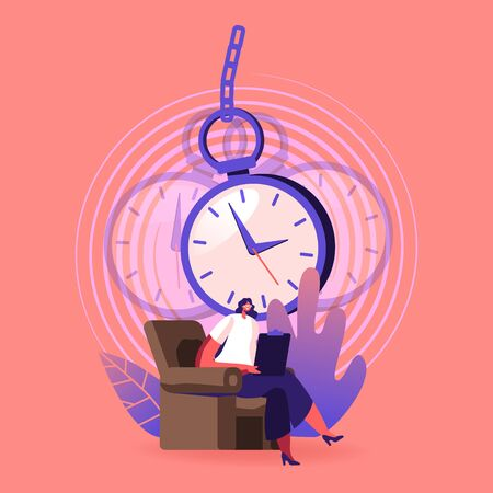 Professional Psychiatrist Female Character Sit in Armchair Write in Notebook with Huge Swinging Pocket Watch above Head. Doctor Treat Mental Disorder Using Hypnosis. Cartoon Vector Illustration