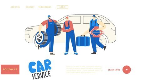 Auto Service Landing Page Template. Mechanics Male Characters with Instruments. Car Diagnostics and Repair. Men Station Staff Work. Auto Checking, Maintenance and Fixing. Linear Vector Illustration