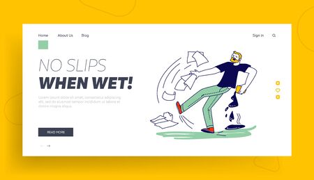Man Falling in Puddle Landing Page Template. Male Character Slipping on Wet Floor Pouring Coffee and Scatter Documents. Dangerous Trauma, Danger Accident, Slip and Stumble. Linear Vector Illustration 일러스트