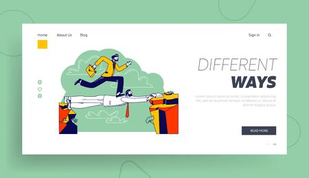 Challenge, Leadership, New Opportunity Success Landing Page Template. Business Man Careerist, Social Climber Character Run over Head of Colleague Like on Bridge. Linear People Vector Illustration