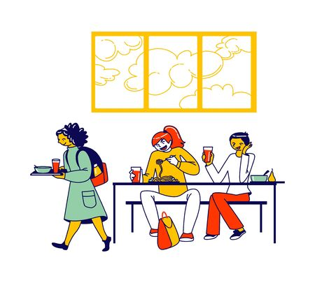 Children Characters Visiting in School Cafeteria. Canteen or Dining Hall with Pupils Carrying Trays with Meals, Sitting at Tables and Eating Lunch, Buying Snacks. Linear People Vector Illustration