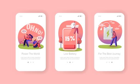 Battery Low Level Mobile App Page Onboard Screen Template. Tiny Characters Charge Devices, Mobile Phones and Gadgets. People Use Smartphones near Huge Accumulator. Concept. Cartoon Vector Illustration 일러스트
