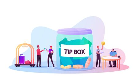 People Paying Tips to Service Staff in Restaurant and Hotel. Tiny Clients and Employees Characters at Huge Glass Jar with Money Coins on Bottom. Hospitality, Hostess. Cartoon Vector Illustration