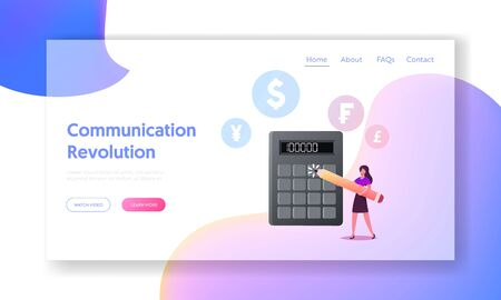Money Bank Finance Credit or Macroeconomics Landing Page Template. Female Character with Pencil Stand at Huge Calculator Counting Income, Profit or Loan, Financial Problem. Cartoon Vector Illustration