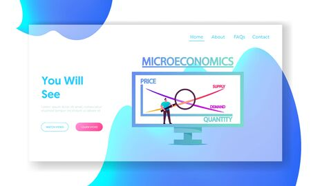 Economy Studying Landing Page Template. Tiny Male Character Stand with Magnifying Glass at Huge Computer Screen with Microeconomics Graph Price, Quantity, Supply or Demand. Cartoon Vector Illustration Ilustração Vetorial