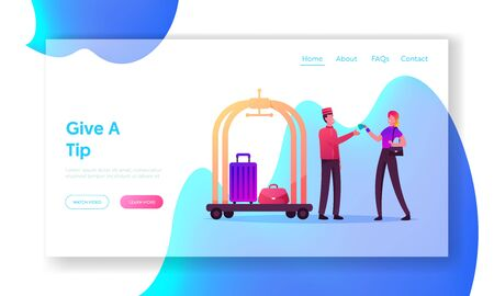 Hospitality Service, Hostess Landing Page Template. Tourist Female Character Giving Tips to Doorman Deliver her Luggage. Woman Gratitude Hotel Staff for Good Work. Cartoon People Vector Illustration  イラスト・ベクター素材