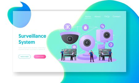 Security Characters Monitoring Surveillance System Landing Page Template. Tiny Men at Huge Video Camera Looking at Multiple Monitors Controlling Analyzing Situation. Cartoon People Vector Illustration
