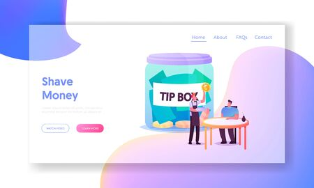 Visitor in Cafe Give Tips to Waiter Landing Page Template. Male Character Sitting at Table in Restaurant, Staff in Uniform Holding Gold Coin. Tiny People at Huge Tip Box. Cartoon Vector Illustration