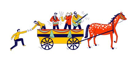 Jump on the Bandwagon Concept, Join Very Popular Activity to Share its Success. Follower Male Character Chasing, Joining, and Jumping into Wagon with Music Band. Linear People Vector Illustration Vektoros illusztráció