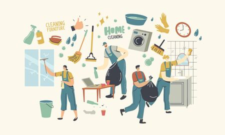 Characters in Uniform with Equipment Cleaning Windows, Bathroom and Living Room. Service of Professional Cleaners at Work Mopping, Clean Floor, Rub, Sweeping at Home. Linear People Vector Illustration