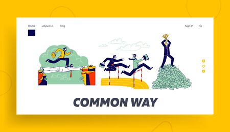 Careerist Landing Page Template. Business Man Character Run on Stadium Jumping over Barrier. Businessman Walk over Colleague Head Stand on Top of Money Pile with Cup. Linear People Vector Illustration