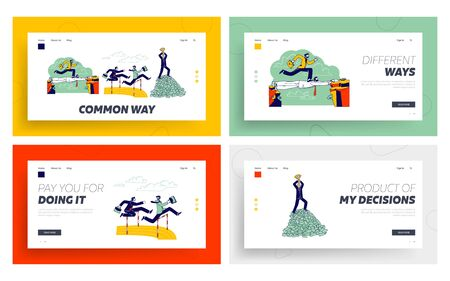 Social Climber Landing Page Template Set. Careerist Business Man Character Jump over Barrier. Businessman Walk on Colleague Head Stand on Top of Money Pile with Cup. Linear People Vector Illustration
