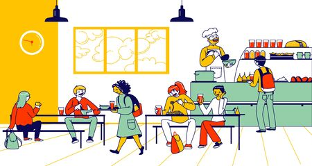 Children Eat in School Cafe. Cafeteria Interior with Tables and Chairs, Kids with Food Trays and Staff Character at Canteen Counter Bar Giving Meals to Schoolers. Linear People Vector Illustration