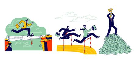 Careerist Business Man Character Running Sprint Race on Stadium Jumping over Barrier. Businessman Walk over Colleague Head, Stand on Top of Money Pile with Cup. Linear People Vector Illustration Illusztráció