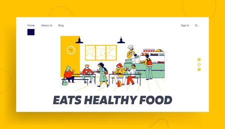Children Eat in School Cafe Landing Page Template. Cafeteria with Tables and Chairs, Kids with Food Trays and Staff Character at Canteen Counter Bar Giving Meals. Linear People Vector Illustration