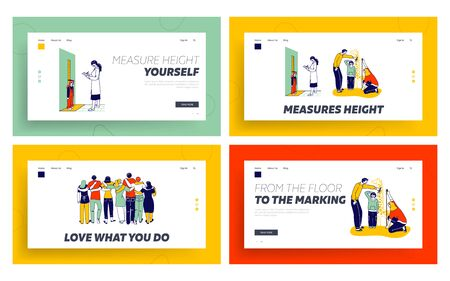 Child Height Measuring, Friends Hugs Landing Page Template Set. Parents and Doctor Characters Measure Kids Height at Wall with Scale. People Group Stand in Row Embracing. Linear Vector Illustration Illustration