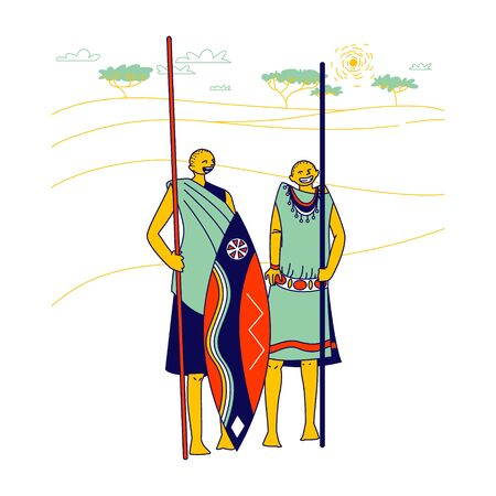 Masai Characters Wearing Traditional Clothes and Armed with Spear and Shield Stand on African Landscape Background  イラスト・ベクター素材