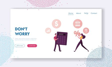 Characters Counting Credit Rating Landing Page Template. Man with Huge Calculator and Woman with Percent Symbol