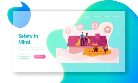 Family Characters Need Help at Flood Landing Page Template. Man, Woman, Girl and Dog Stand House Roof Ilustração