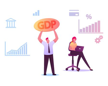 Man Holding GDP Sign Woman Working on Laptop with Growing Graphs and Finance Icons around. Economist Characters Study Macroeconomics and Global Worldwide Market. Cartoon People Vector Illustration