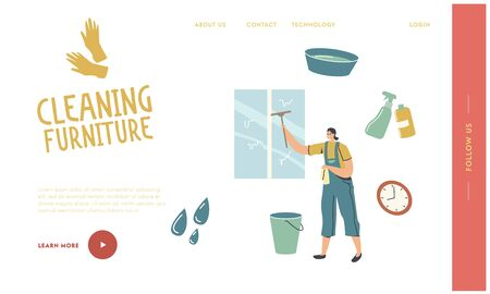 Cleaning Service Landing Page Template. Female Character Washing Window with Scraper. Professional Cleaning