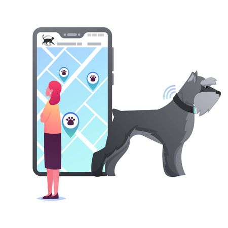 Tiny Female Character Stand at Huge Smartphone with GPS Navigation App for Pets. Woman Look on Mobile Phone