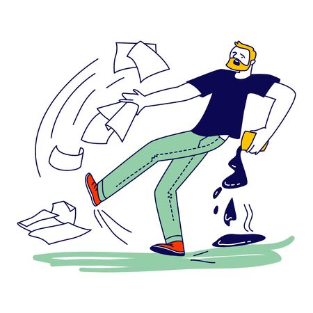 Male Character Slipping on Wet Floor Pouring Coffee and Scatter Documents around. Man Falling on Puddle Stock Illustratie