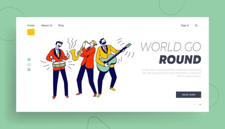 Musical Performance Landing Page Template. Street Musicians Characters or Jazz Band Perform Show